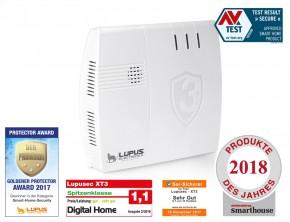 LUPUSEC-XT3. Das neue Smarthome Alarmsystem von LUPUS-Electronics.            Die neue LUPUSEC-XT3 ist ein innovatives System für Gebäudesicherheit, Videoüberwachung und Smarthome-Steuerung. Ganz ohne bauliche Veränderungen schützt sie effizient gegen Einbruch, Überfall, Feuer, Wasser, Gas und medizinische Notfälle. Sie kann die Steuerung von Heizung, Leuchten, Rollläden und Elektrogeräte übernehmen und schafft Transparenz per Live-Video-Verbindung zu fest installierten Kameras.        LUPUSEC-XT3 ist eine professionelle, sichere Alarmanlage.  LUPUSEC-XT3 sichert Gebäude professionell und zuverlässig. Bis zu 160 Gefahrenmelder können per Funk mit einem proprietären Funkstandard auf der Frequenz 868MHz angebunden werden. Erhältlich sind Sensoren gegen Einbruch, Überfall, Feuer, Wasser, Gas und medizinische Notfälle. Im Alarmfall wird der User sofort und unmittelbar benachrichtigt. Per Push-Nachricht, Email, SMS, Telefonanruf, oder ggf. auch von einer 24H-Alarmzentrale. Dies übermittelt die XT3 über zwei redundante Alarmwege: über ihren Netzwerk-Anschluss, sowie über das integrierte GSM-Mobilfunkmodul.  Und natürlich können Videoüberwachungssysteme, wie die IP-Kameras von LUPUS, sowie 99% aller weiteren IP-Kamera-Hersteller, einfach in die Benutzeroberfläche der LUPUSEC-XT3 integriert werden.  Professionell und sicher, und deshalb auch mit dem europäischen Qualitätsstandard EN50131 Grad 2 zertifiziert. Damit ist die LUPUSEC-XT3 auch KfW-förderfähig.     Das Betriebssystem für Ihr Gebäude   LUPUSEC-XT3 ist ein umfangreiches Smarthome-System.  Die LUPUSEC-XT3 ist das perfekte Gebäude-Betriebssystem. Sie kann Heizung und Temperatur automatisieren oder Leuchten, Rollläden und Elektrogeräte steuern. Durch ihre einfache, intelligente Software, können alle Funktionen miteinander verbunden, verknüpft werden und an Abläufe, Routinen und Zeitpläne angepasst werden: z.B. an- und abwesenheitsgesteuerte Strom- und Temperatur-Events, Zeit- oder Sonnenlaufgesteuerte Strom- und Licht