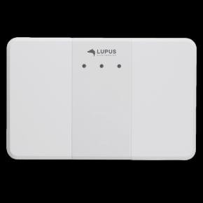 LUPUS - Drahtloser Sensoreingang (9fach)  Achtung : kein Netzteil im Lieferumfang ( 12 V/1A),    Der LUPUS - drahtloser Sensoreingang (9fach) besitzt neun potentialfreie Kontakte für insgesamt 9 Meldegruppen oder einzelne Melder. Wird eine dieser Meldelinien überbrückt (geschlossen), z.B. von einem bereits vorhandenen kabelgebundenem Türkontakt, einem Bewegungsmelder, einem BUS-System oder ähnlichem, wird Alarm ausgelöst. Es können auch mehrere Melder an eine Meldelinie angeschlossen werden. Im WebUI Ihrer Zentrale können Sie dann der Meldelinie einen Typ (z.B. Türkontakt oder Rauchmelder) zuweisen.