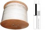 'Sparen sie Zeit und Geld mit diesem Kombikabel (made in Germany): Es verfügtüber eine zweiadrige Leitung. Die Eine wird für das Videosignal und die Andere  für die Stromversorgung oder die PTZ-Steuersignale verwendet. So müssen sie  lediglich ein Kabel verlegen. Hierzu empfehlen wir unsere Leistungsnetzteile  für maximal 16 Kameras. Dieses können Sie zentral platzieren – ganz ohne  Kabelsalat.  Das Kabel hat eine mittlere Festigkeit gegen Öl, Wasser, Reinigungsmittel  und UV-Licht und ist für Temperaturen zwischen -20° und +70° C ausgelegt.  Die geringe Dämpfung und die hohe Signalabschirmung ermöglichen Übertragungslängen von bis zu 300 Metern ohne Signalverstärker. Mit  Verstärker sind sogar bis zu 800 Meter möglich.  250  Meter Kombikabel: Videoleitung RG59 plus 2-adrige Strom-/Steuerleitung  Doppelt abgeschirmt  Abgeschirmt  Geflechtsdraehte aus Kupfer   Hoher Kupferanteil     sehr gute Durchgangsdämpfung     Mantelmaterial: 12.6 x 6.1mm PVC weiss (bei grossen Mengen auch in schwarz lieferbar) Innenleiter: 0.6mm CUIsolation: 3.7mm PE. +/- 0,1Wellenwiderstand Impedanz: 75Ohm +/-3Kapazitaet (pF/m): 67Verkuerzungsfaktor (v/c): 0,66Daempfung bei 20 GradC (dB 100m): 1MHz - 1.1 | 5MHz - 2.5 | 10MHz - 3.5Gleichstromwiderstand: Innenleiter: 63 Aussenleiter: 13Minimaler Biegeradius: 30mmGewicht kg/km: +/-98.5Kupferanteil kg/km: 38 erfuellt RoHS (EN 2002/95 EG bzgl. Schadstoff-Freiheit)Made in Germany Gewicht: ca. 25kg   '