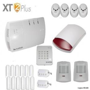 Das LUPUSEC XT2Einfamilenhaus Pack bestehend aus der   1 XT2 Plus Zentrale 12 Türkontakten V2 2 Bewegungsmelder V2 1 Keypad V2 1 Außensirene V2 4 Rauchmeldern  2 Fernbedienungen V2   Sie sparen gegenüber den Einzelkomponenten 5% in diesem Shop oder dem UVP des Herstellers.  Dises Paket ist auch mit Minikonakten erhältlich , bitte in Bemerkungsfeld angeben.           LUPUSEC-XT2. das neue Smart-Home Alarmsystem von LUPUS-Electronics.    Zugriff jederzeit, überall!   LUPUSEC-XT2 ist das neue Smart-Home Alarmsystem von LUPUS-Electronics eines der modernsten Systeme für Gebäudesicherheit und Smart Home-Steuerung. Die LUPUSEC - XT2 verwaltet bis zu 160 Gefahrenmelder / Hausautomationsmodule in zwei getrennt schaltbaren Alarmkreisen. Jeder Alarmkreis hat zusätzlich 4 getrennt schaltbare Zonen für maximale Flexibiltät. So können auch große Gebäude mit einem einfachen System schnell und kosteneffizient gegen Einbruch, Feuer, Gas und Wasser abgesichert werden.      Einfache Installation    Das LUPUSEC-XT2 Smart-Home Alarmsystem ist schnell einzurichten umständliches Anlernen der Sensoren über ein Tastaturfeld oder Signaltöne gehört der Vergangenheit an. Alle Sensoren tauchen sofort in der übersichtlichen Benutzeroberfläche Ihres Browsers auf und können mit wenigen Klicks konfiguriert werden. Das Video zeigt Ihnen die ersten Schritte:      SmartHome ganz einfach   Für umfangreiche Smart-Home Automatisierungsfunktionen sorgt eine flexible Funktionsbelegung der Melder: einfach zu bedienen und überall jederzeit zugriffsbereit - ganz einfach per Computer, Tablet oder Smartphone, über die revolutionär übersichtliche Benutzeroberfläche der LUPUSEC-XT2. Sie möchten unterwegs den Alarmstatus kontrollieren? Oder Alarmzonen einzeln an- oder ausschalten? Oder einfach nur kontrollieren, ob alle Türen und Fenster geschlossen sind? Kein Problem, ein Blick auf z.B. Ihr Smartphone genügt und Sie können in Ruhe weiter Ihren Tag genießen.      Kontrollieren, steuern und einstellen   Automatisi