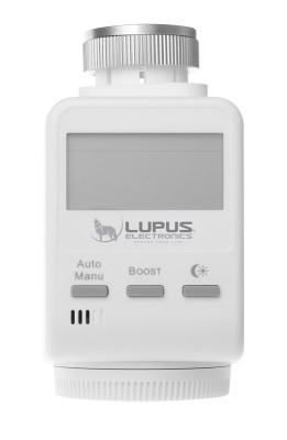 LUPUSEC - V2 Heizkörperthermostat V1.2 (2018)      LUPUSEC Heizkörperthermostat: einfach intelligent heizen!   Steigern Sie den Wohnkomfort bei sinkenden Kosten: mit dem LUPUSEC Heizkörperthermostat.  Das LUPUSEC Heizkörperthermostat ermöglicht die intelligente Steuerung Ihrer Heizung über die LUPUSEC Alarm Zentrale. Mit Hilfe von einfach zu erstellenden Zeitplänen regulieren Sie die Raumtemperatur und passen so die Heizphasen Ihren individuellen Bedürfnissen an.  Dabei ist das Heizkörperthermostat im Handumdrehen installiert: einfach den alten Heizungsregler abschrauben, das neue LUPUSEC Heizkörperthermostat anschrauben und die mitgelieferten Batterien einsetzen. Wie gewohnt wird das Heizkörperthermostat mit einem Tastendruck an die Zentrale angelernt und Sie können mit der Programmierung beginnen.  Individuelle Zeitpläne ermöglichen es Ihnen nur dann zu heizen wenn wirklich Bedarf besteht. Das Heizkörperthermostat erkennt sobald ein Fenster geöffnet ist oder geschlossen wird. Und sollten Sie in den Urlaub gefahren sein ohne zuvor Ihre Heizungen runtergeregelt zu haben? Kein Problem - alle Einstellungen können auch von der Ferne verändert werden. Hierzu können Sie unsere iOS / Android APP oder die Webseite der Zentrale verwenden.     Heizen wenn wirklich Bedarf besteht   Schnell integriert - einfach automatisiert!  Wärme und Gemütlichkeit, wenn Sie zu Hause sind. Energiesparend heruntergeregelt, wenn keiner da ist.  Regeln Sie die Raumtemperatur nach Ihren Bedürfnissen. Hierzu können Sie für jeden Tag einen Zeitplan erstellen und diesen unter einem Profil ablegen. So können Sie auch wenn Sie bereits vereist sind, jederzeit das entsprechende Profil aktivieren und kommen so auch dann in ein angenehm temperiertes Haus wenn Sie einmal früher aus dem Urlaub zurückkommen sollten.