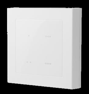 LUPUSEC - Szenarienschalter V2      Einfach automatisiert    Der schlaue Schaltgehilfe für Ihr Eigenheim  Der schlaue Schaltgehilfe für Ihr Eigenheim: Der LUPUSEC Szenarien Schalter ist ein Funkschalter mit 4 Touch-Bedienelementen für die Wand. Dieser kann entweder geklebt oder geschraubt werden. Eine Verkabelung ist nicht nötig. Einmal mit der Zentrale verbunden, können Sie insgesamt 4 Szenarien auslösen. Ein Szenario wiederum besteht aus maximal 5 Automationsregeln.