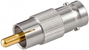 Diesen Adapter koennen Sie zur Verbindung von BNC undCinch-Anschluessen verwenden. BNC-Kupplung auf Cinch-Stecker Wird benötigt um eine BNC-Kabel z.B. am TV anzuschliessen
